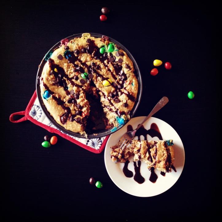 Monster Cookie Peanut Butter Cheesecake Pie