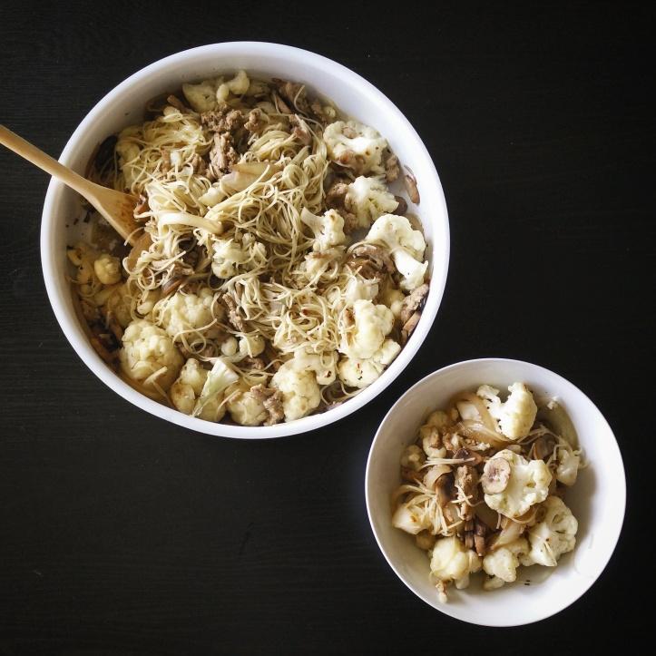 Cauliflower Mushroom Ground Turkey Pasta